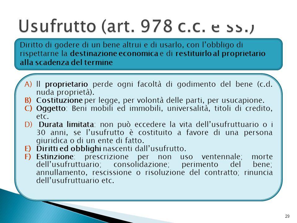 Usufrutto (art. 978 c.c. e ss.)