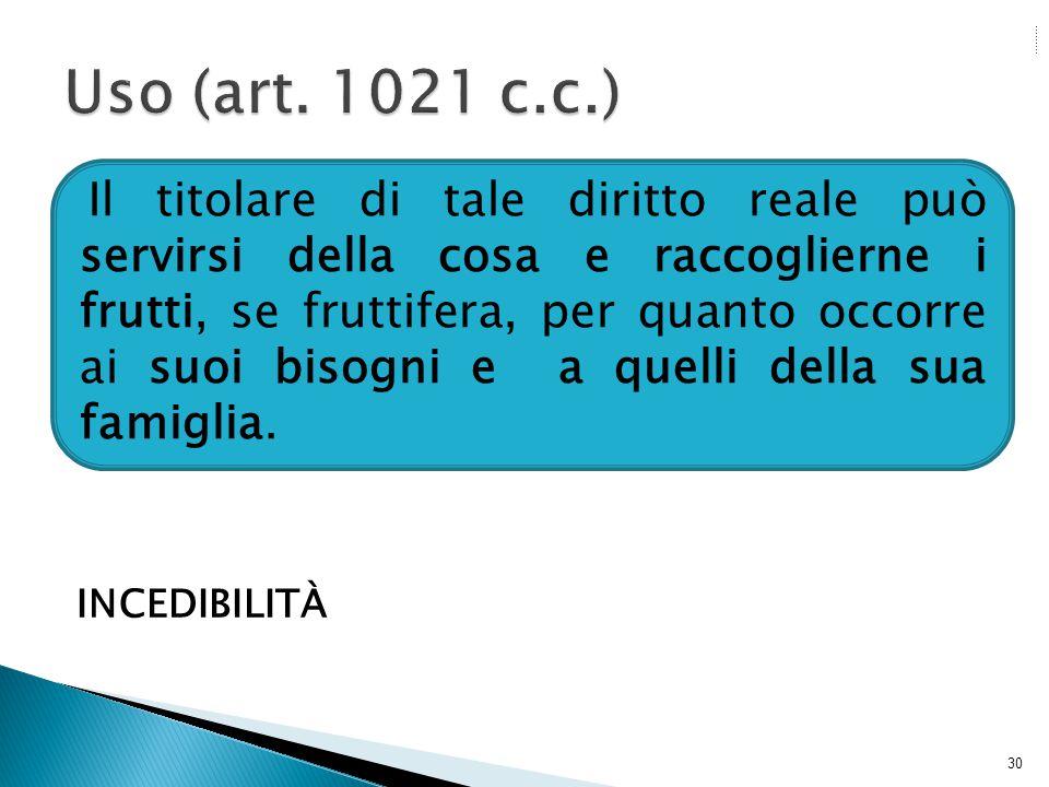 Uso (art. 1021 c.c.) INCEDIBILITÀ