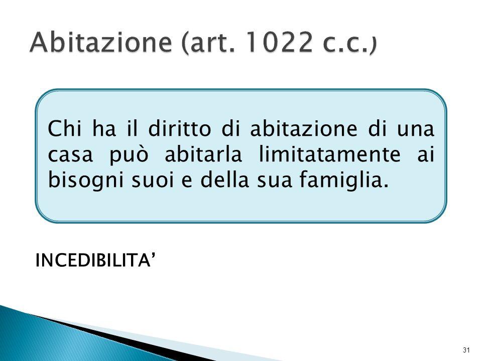 Abitazione (art. 1022 c.c.) INCEDIBILITA'