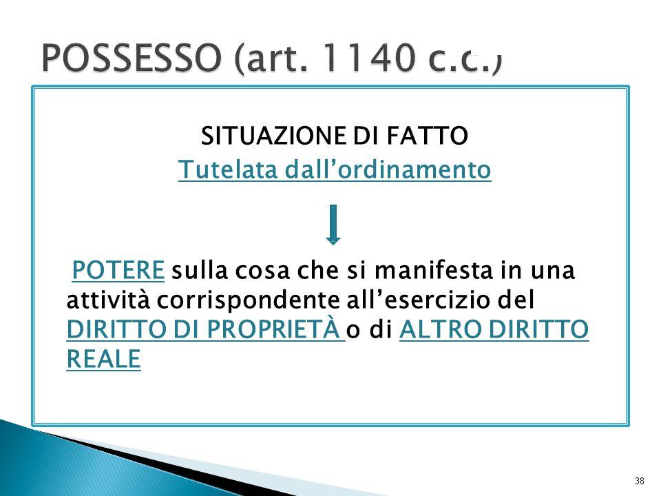 POSSESSO (art. 1140 c.c.)