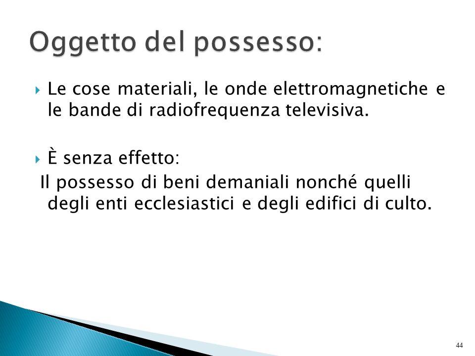 Oggetto del possesso: Le cose materiali, le onde elettromagnetiche e le bande di radiofrequenza televisiva.
