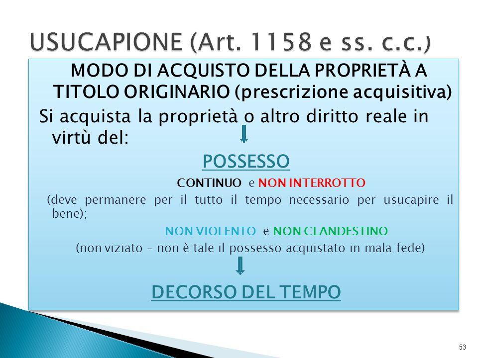 USUCAPIONE (Art. 1158 e ss. c.c.)