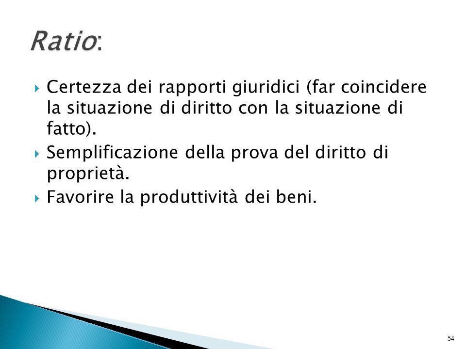 Ratio: Certezza dei rapporti giuridici (far coincidere la situazione di diritto con la situazione di fatto).