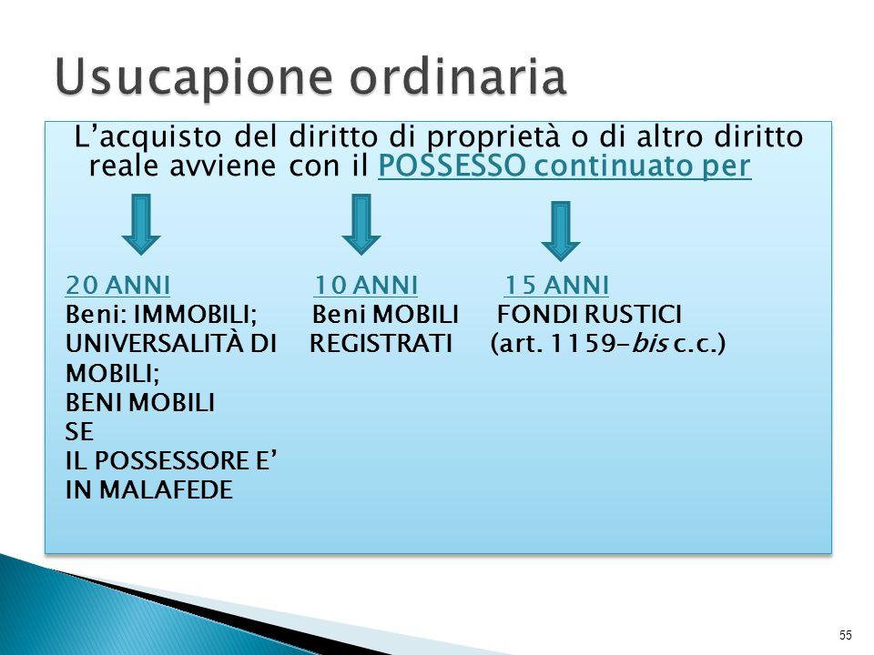 Usucapione ordinaria L'acquisto del diritto di proprietà o di altro diritto reale avviene con il POSSESSO continuato per.