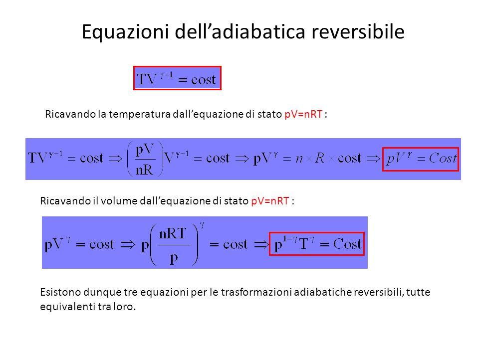 Equazioni dell'adiabatica reversibile