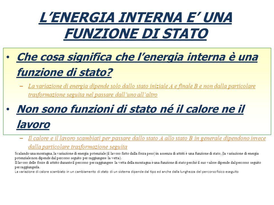 L'ENERGIA INTERNA E' UNA FUNZIONE DI STATO