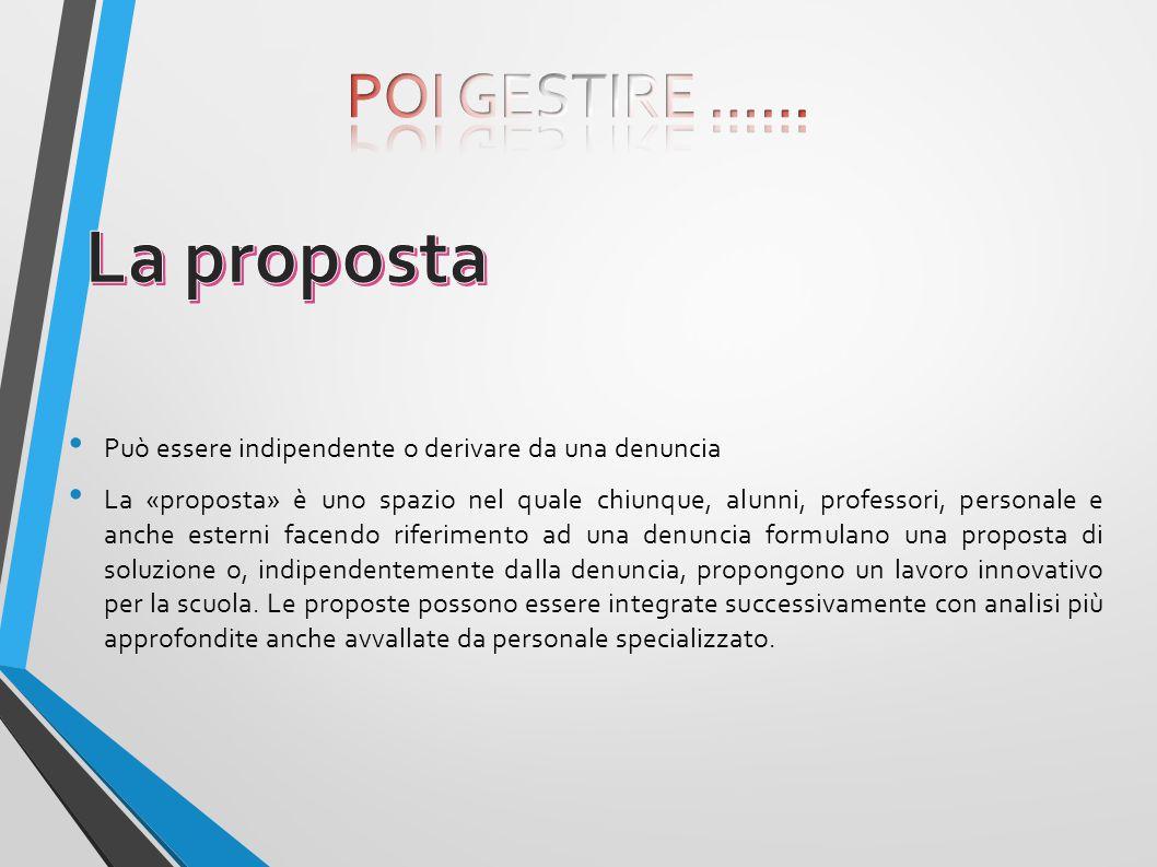 La proposta POI GESTIRE ……