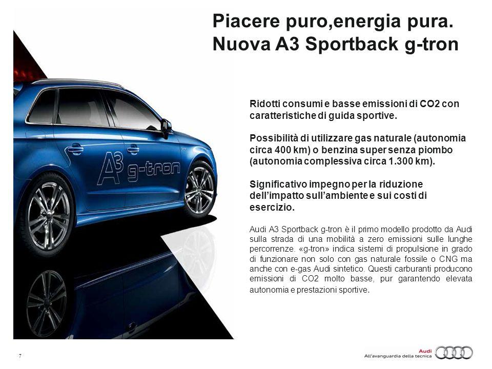 Piacere puro,energia pura. Nuova A3 Sportback g-tron