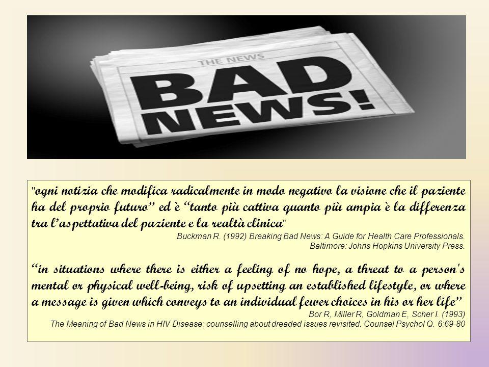ogni notizia che modifica radicalmente in modo negativo la visione che il paziente ha del proprio futuro ed è tanto più cattiva quanto più ampia è la differenza tra l'aspettativa del paziente e la realtà clinica