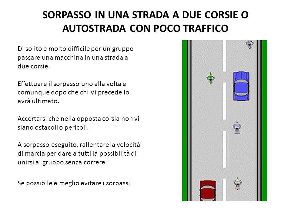 SORPASSO IN UNA STRADA A DUE CORSIE O AUTOSTRADA CON POCO TRAFFICO