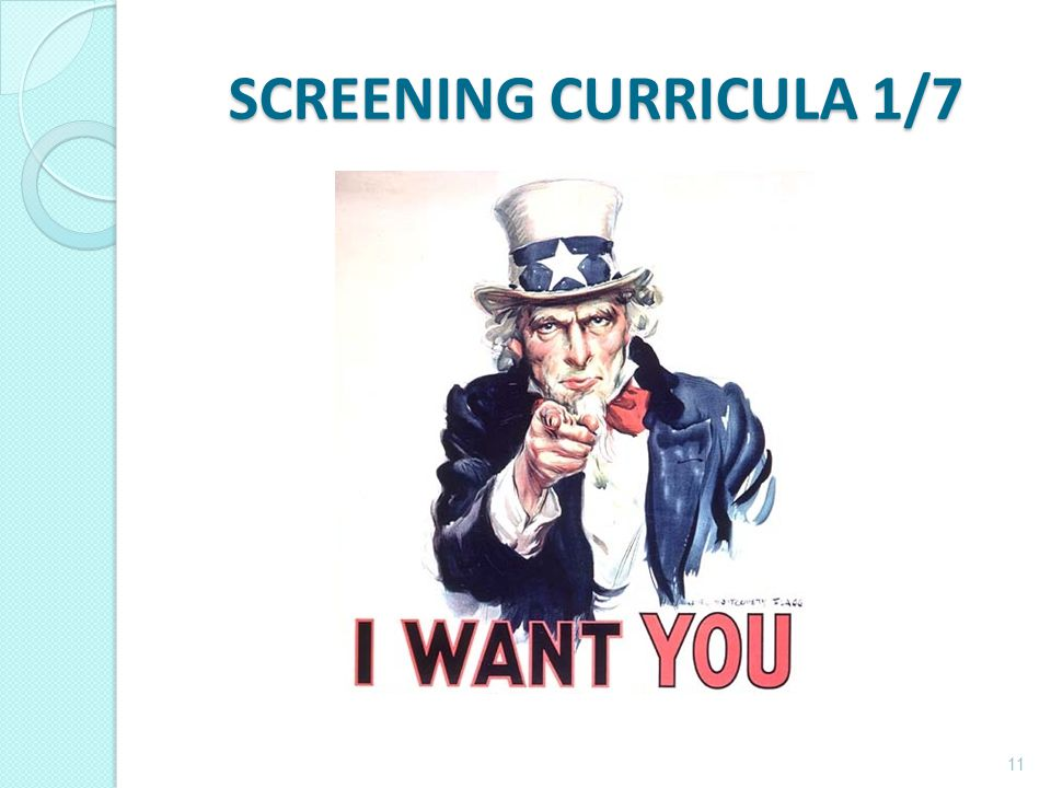 SCREENING CURRICULA 1/7