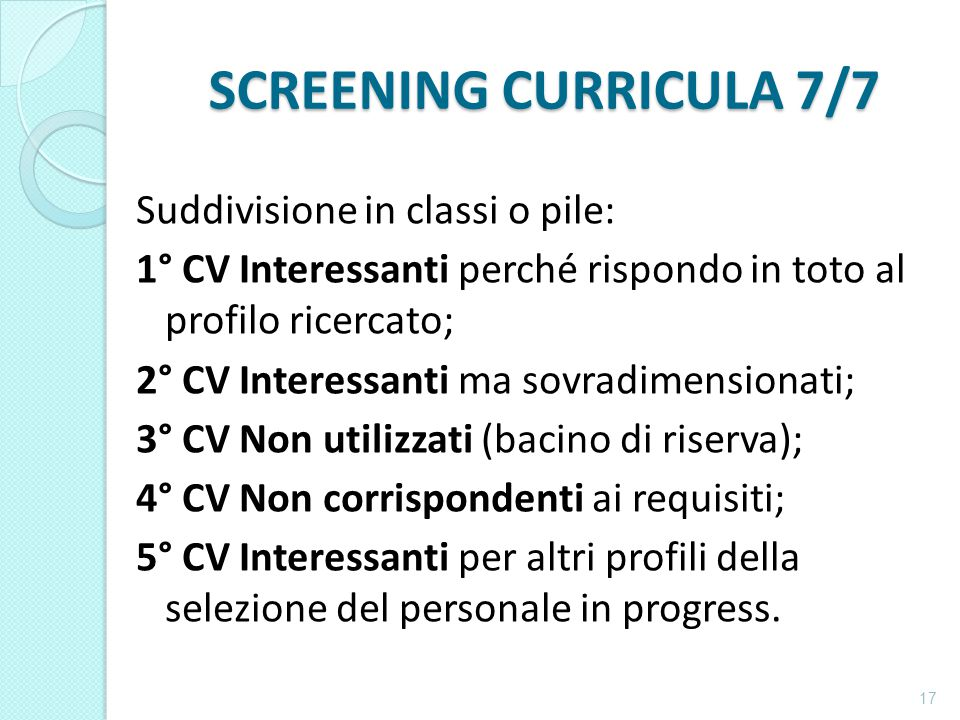 SCREENING CURRICULA 7/7
