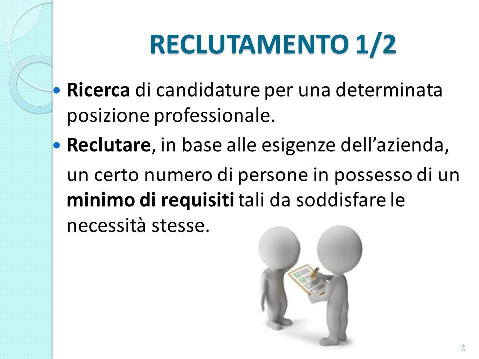 RECLUTAMENTO 1/2 Ricerca di candidature per una determinata posizione professionale. Reclutare, in base alle esigenze dell'azienda,