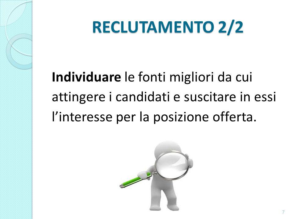 RECLUTAMENTO 2/2 Individuare le fonti migliori da cui attingere i candidati e suscitare in essi l'interesse per la posizione offerta.