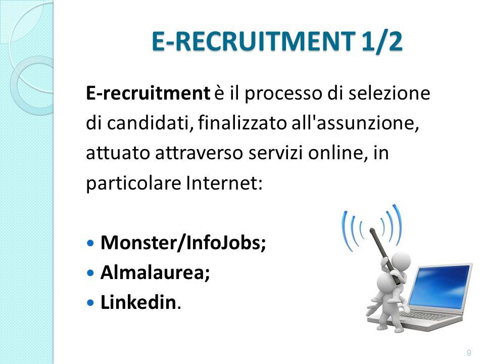 E-RECRUITMENT 1/2 E-recruitment è il processo di selezione