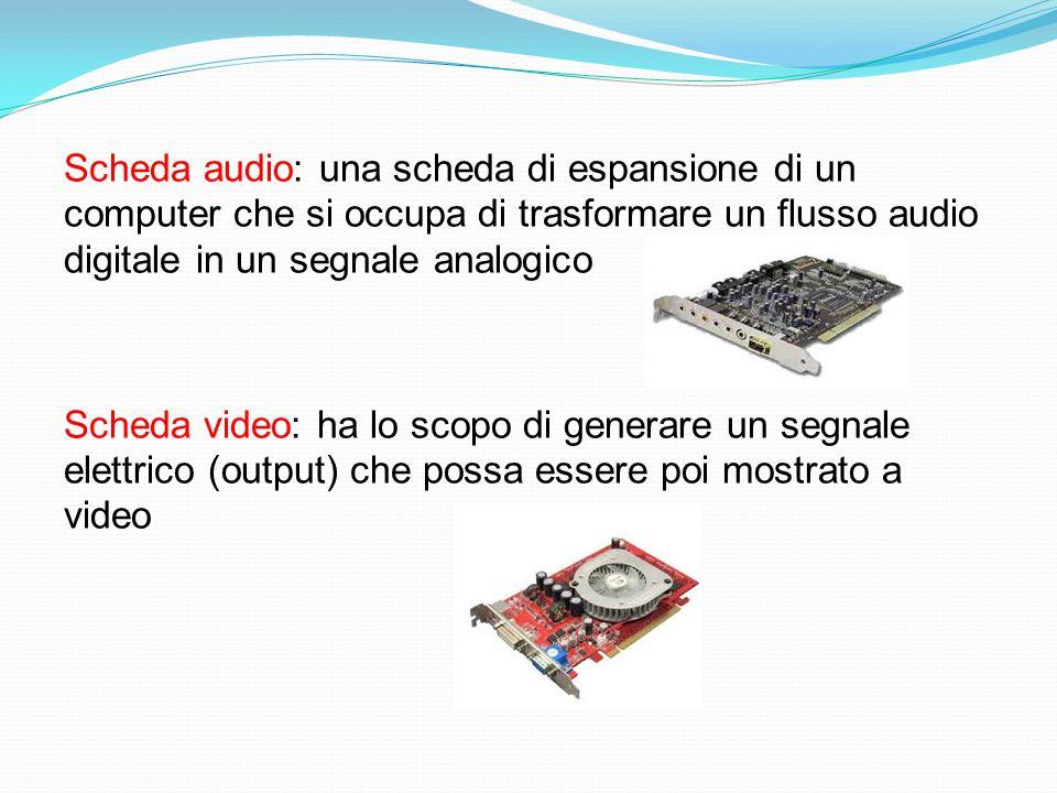 Scheda audio: una scheda di espansione di un computer che si occupa di trasformare un flusso audio digitale in un segnale analogico Scheda video: ha lo scopo di generare un segnale elettrico (output) che possa essere poi mostrato a video