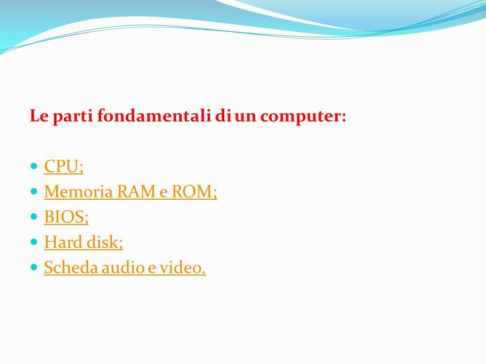 Le parti fondamentali di un computer: