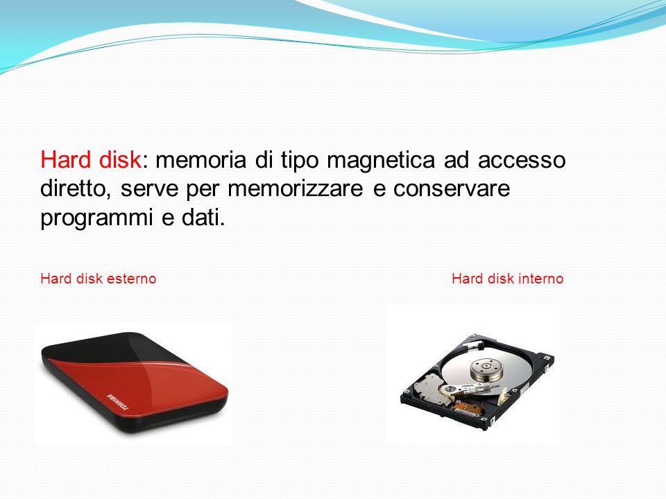 Hard disk: memoria di tipo magnetica ad accesso diretto, serve per memorizzare e conservare programmi e dati.