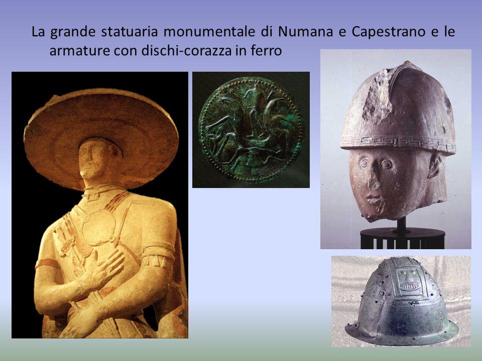 La grande statuaria monumentale di Numana e Capestrano e le armature con dischi-corazza in ferro