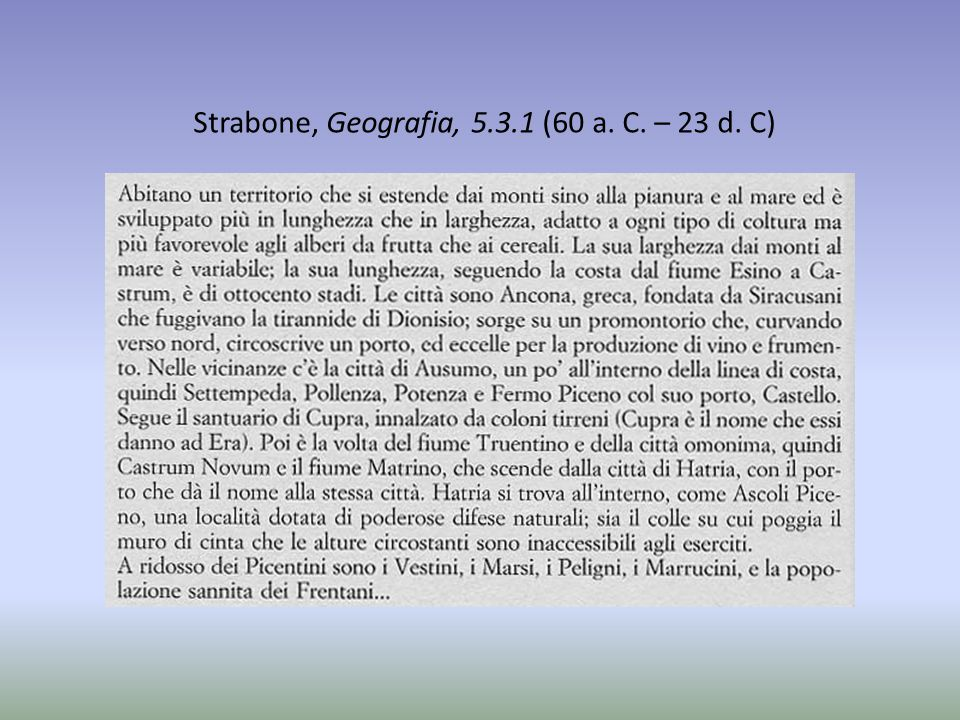 Strabone, Geografia, 5.3.1 (60 a. C. – 23 d. C)