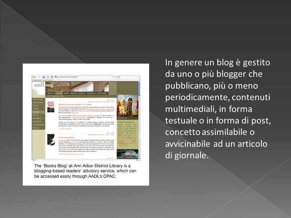 In genere un blog è gestito da uno o più blogger che pubblicano, più o meno periodicamente, contenuti multimediali, in forma testuale o in forma di post, concetto assimilabile o avvicinabile ad un articolo di giornale.