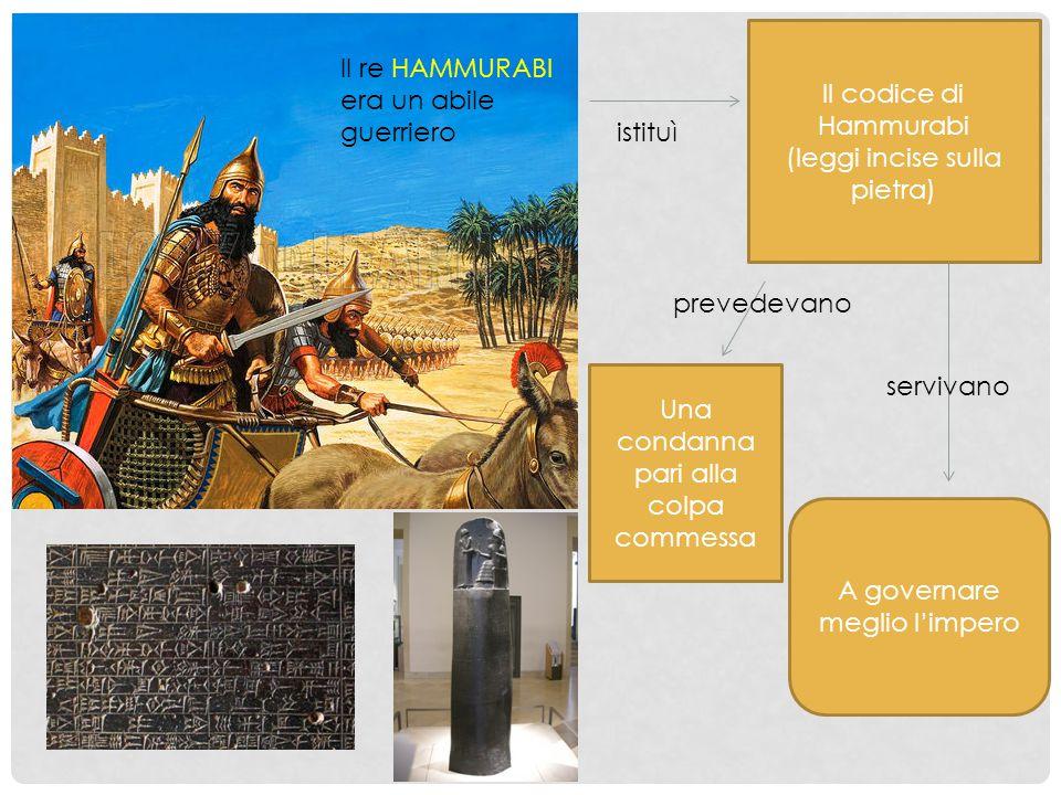 (leggi incise sulla pietra) Il re HAMMURABI era un abile guerriero