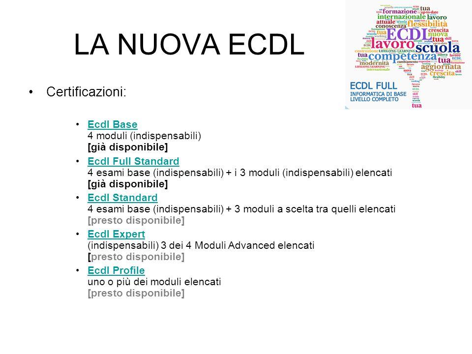 LA NUOVA ECDL Certificazioni: