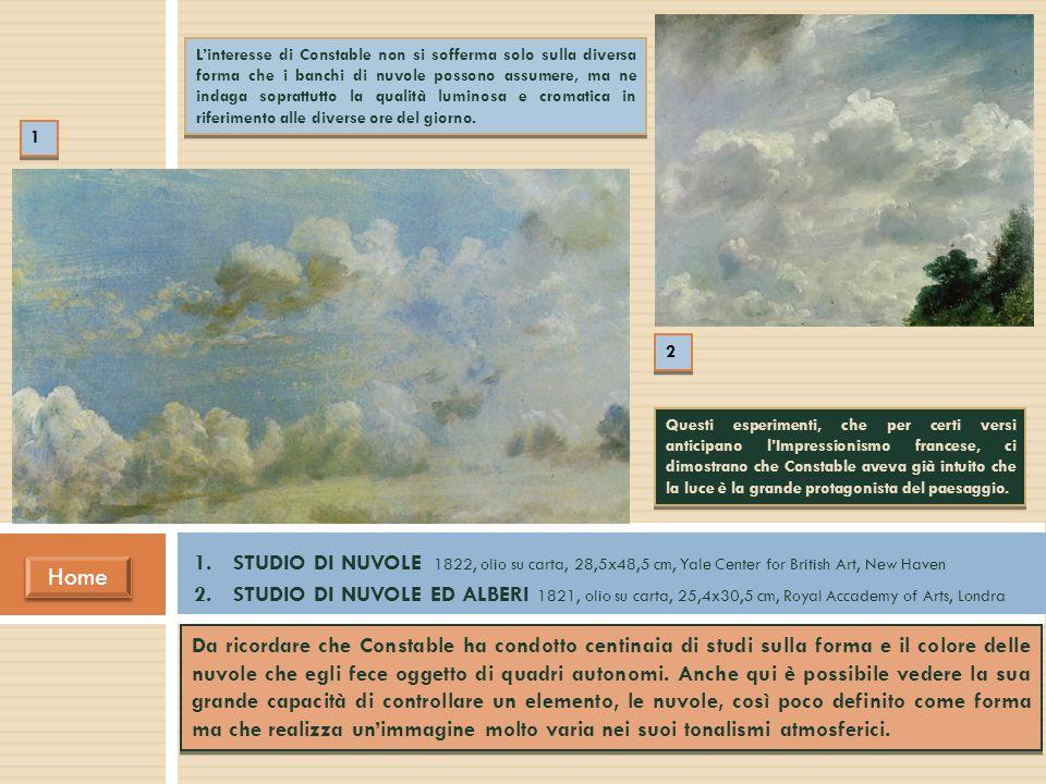 L'interesse di Constable non si sofferma solo sulla diversa forma che i banchi di nuvole possono assumere, ma ne indaga soprattutto la qualità luminosa e cromatica in riferimento alle diverse ore del giorno.