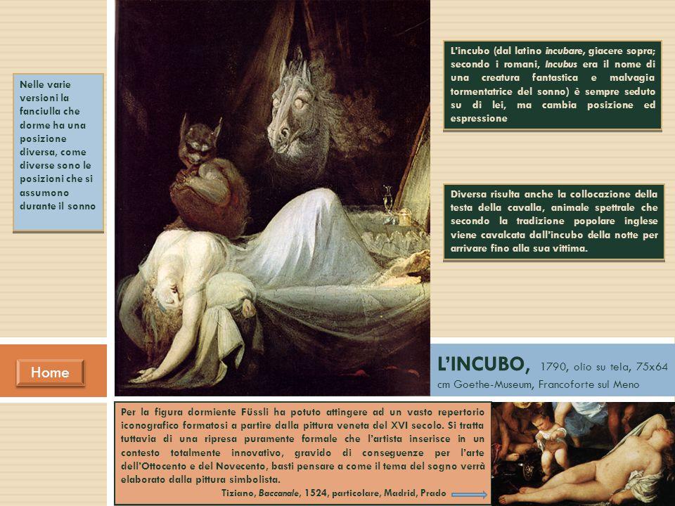 L'incubo (dal latino incubare, giacere sopra; secondo i romani, Incubus era il nome di una creatura fantastica e malvagia tormentatrice del sonno) è sempre seduto su di lei, ma cambia posizione ed espressione