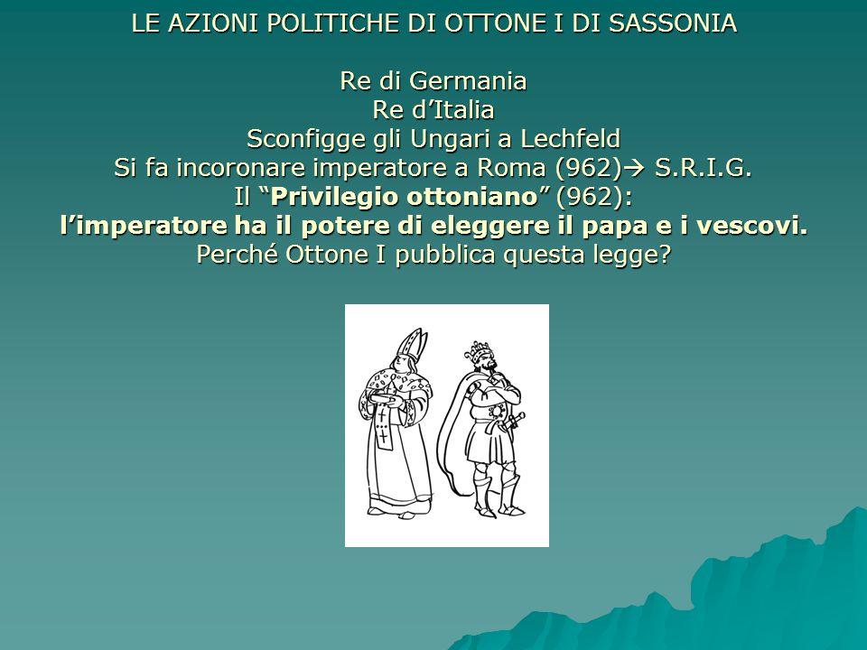 LE AZIONI POLITICHE DI OTTONE I DI SASSONIA Re di Germania Re d'Italia Sconfigge gli Ungari a Lechfeld Si fa incoronare imperatore a Roma (962) S.R.I.G.