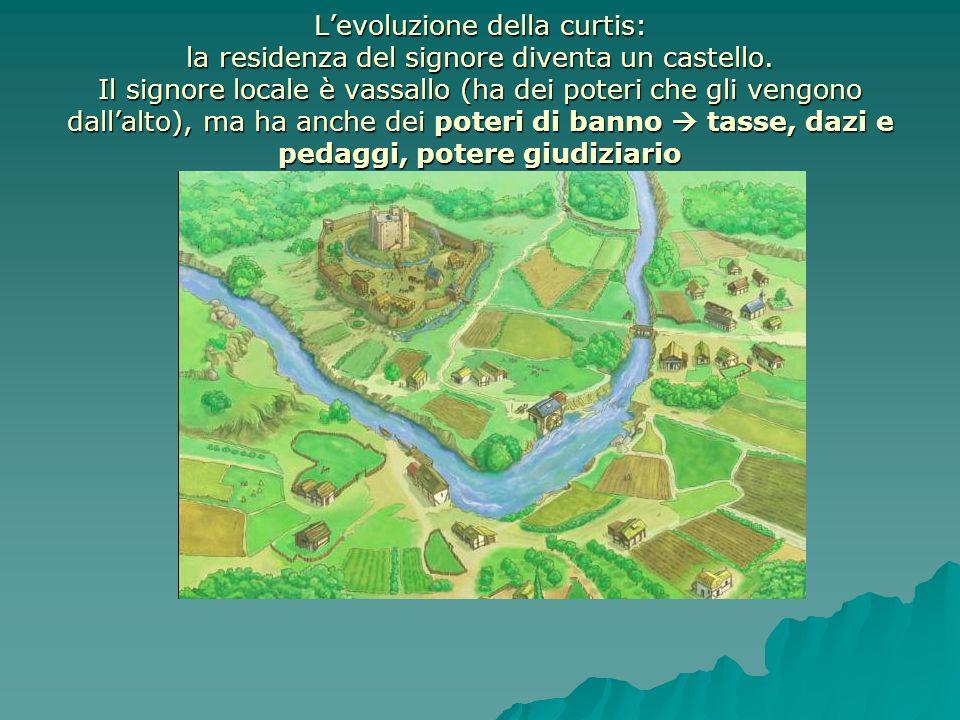 L'evoluzione della curtis: la residenza del signore diventa un castello.