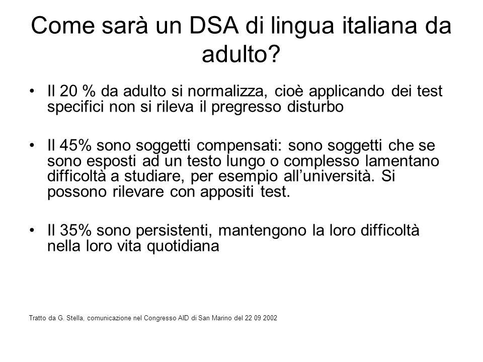 Come sarà un DSA di lingua italiana da adulto