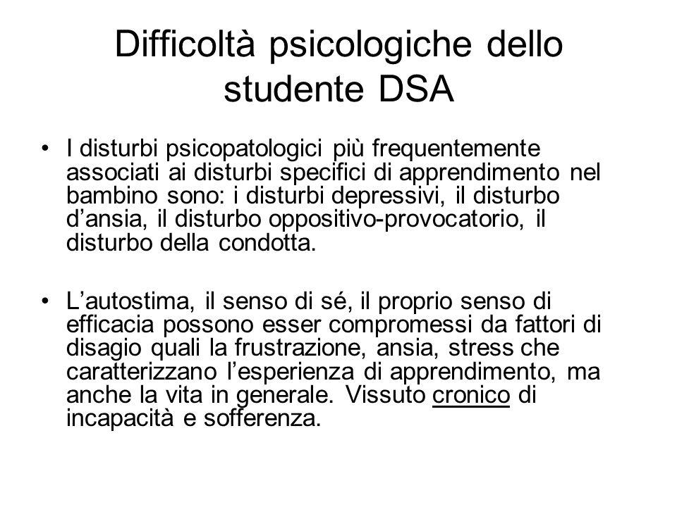 Difficoltà psicologiche dello studente DSA