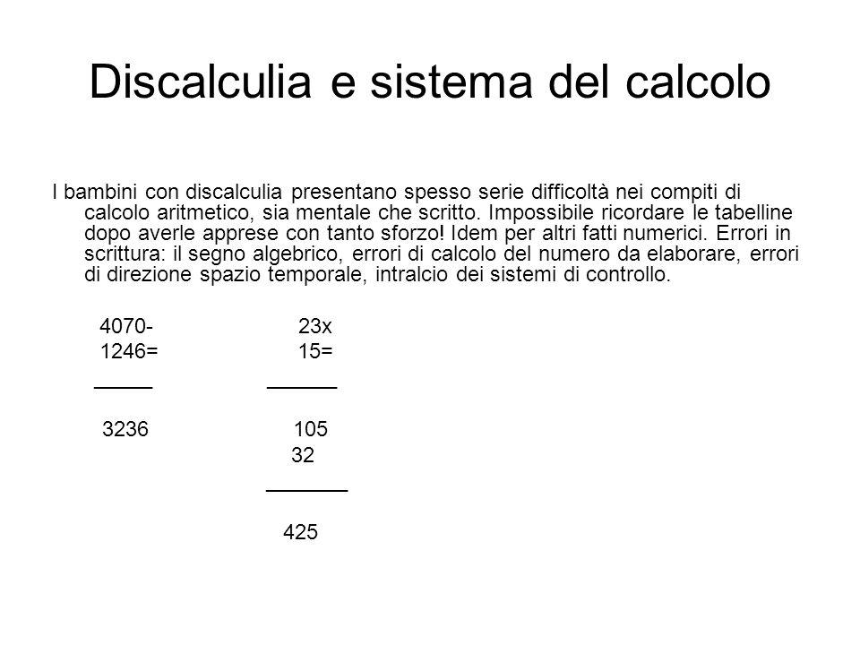 Discalculia e sistema del calcolo