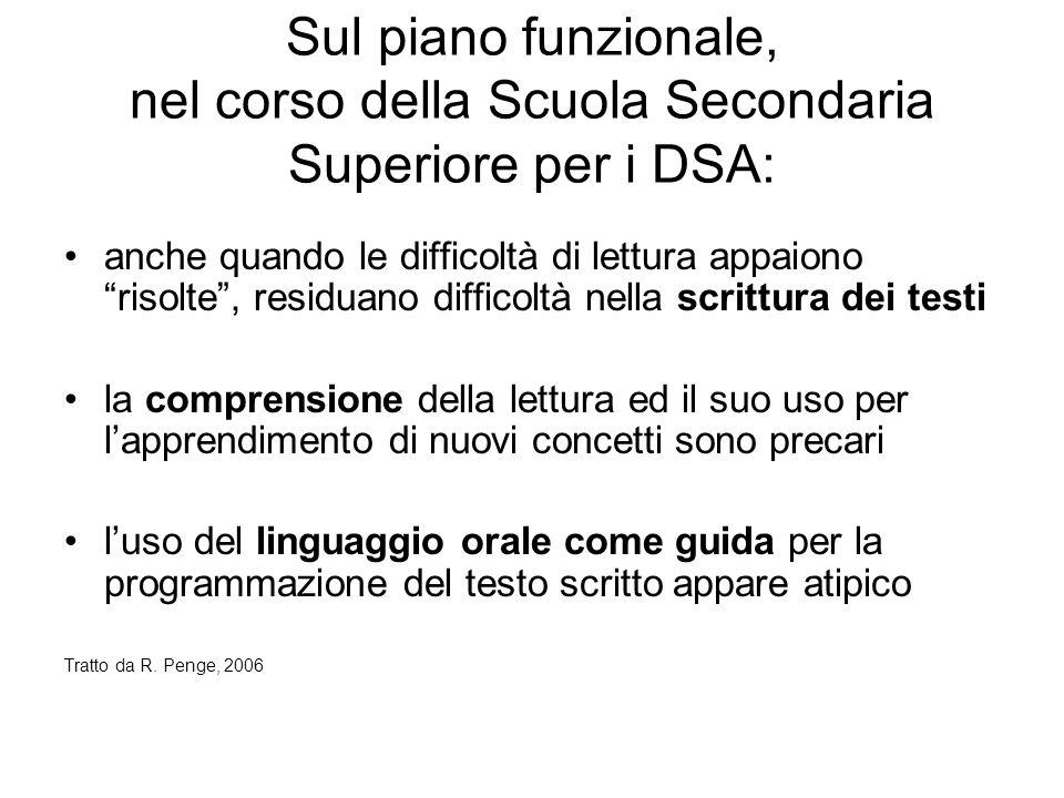 Sul piano funzionale, nel corso della Scuola Secondaria Superiore per i DSA: