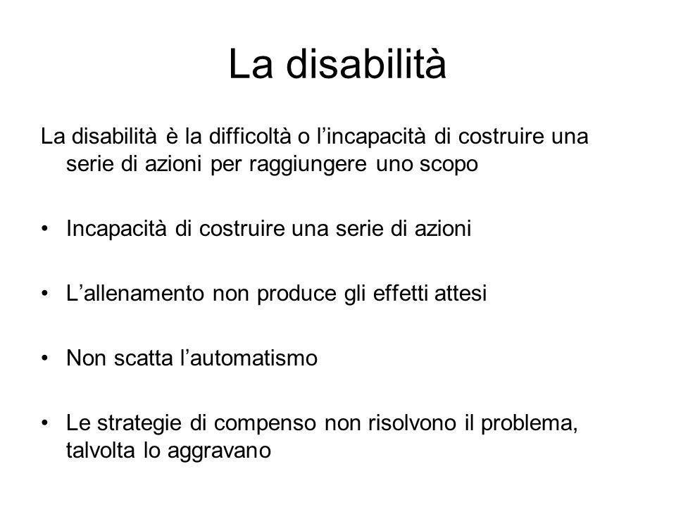La disabilità La disabilità è la difficoltà o l'incapacità di costruire una serie di azioni per raggiungere uno scopo.