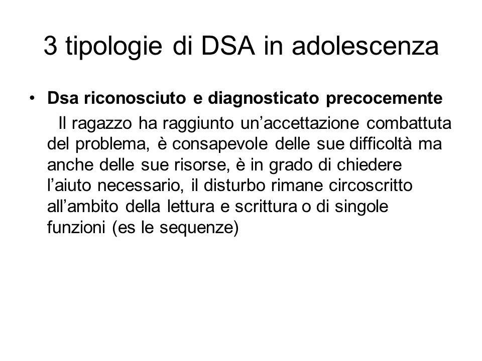 3 tipologie di DSA in adolescenza