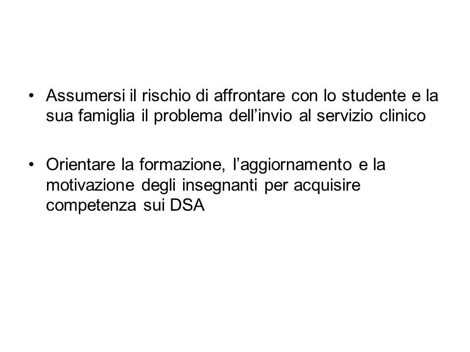 Assumersi il rischio di affrontare con lo studente e la sua famiglia il problema dell'invio al servizio clinico
