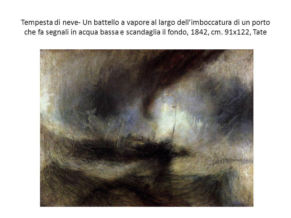 Tempesta di neve- Un battello a vapore al largo dell'imboccatura di un porto che fa segnali in acqua bassa e scandaglia il fondo, 1842, cm.