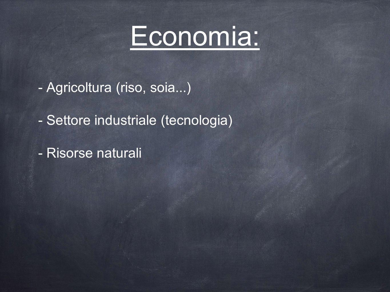 Economia: - Agricoltura (riso, soia...)
