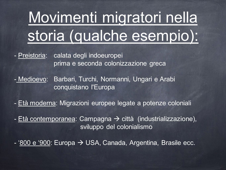 Movimenti migratori nella storia (qualche esempio):