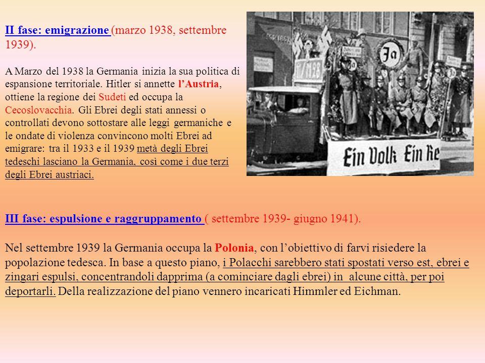 II fase: emigrazione (marzo 1938, settembre 1939).