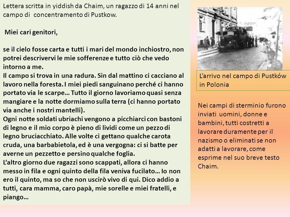 Lettera scritta in yiddish da Chaim, un ragazzo di 14 anni nel campo di concentramento di Pustkow.