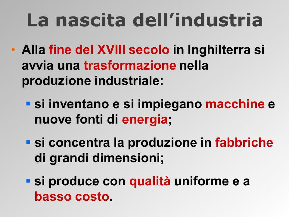 La nascita dell'industria