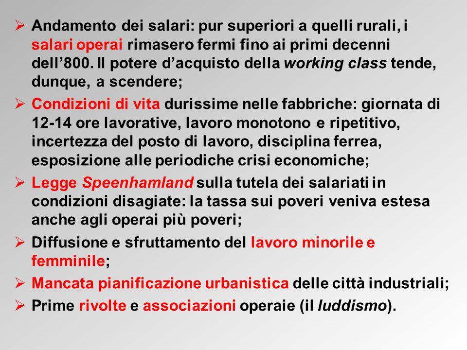 Andamento dei salari: pur superiori a quelli rurali, i salari operai rimasero fermi fino ai primi decenni dell'800. Il potere d'acquisto della working class tende, dunque, a scendere;