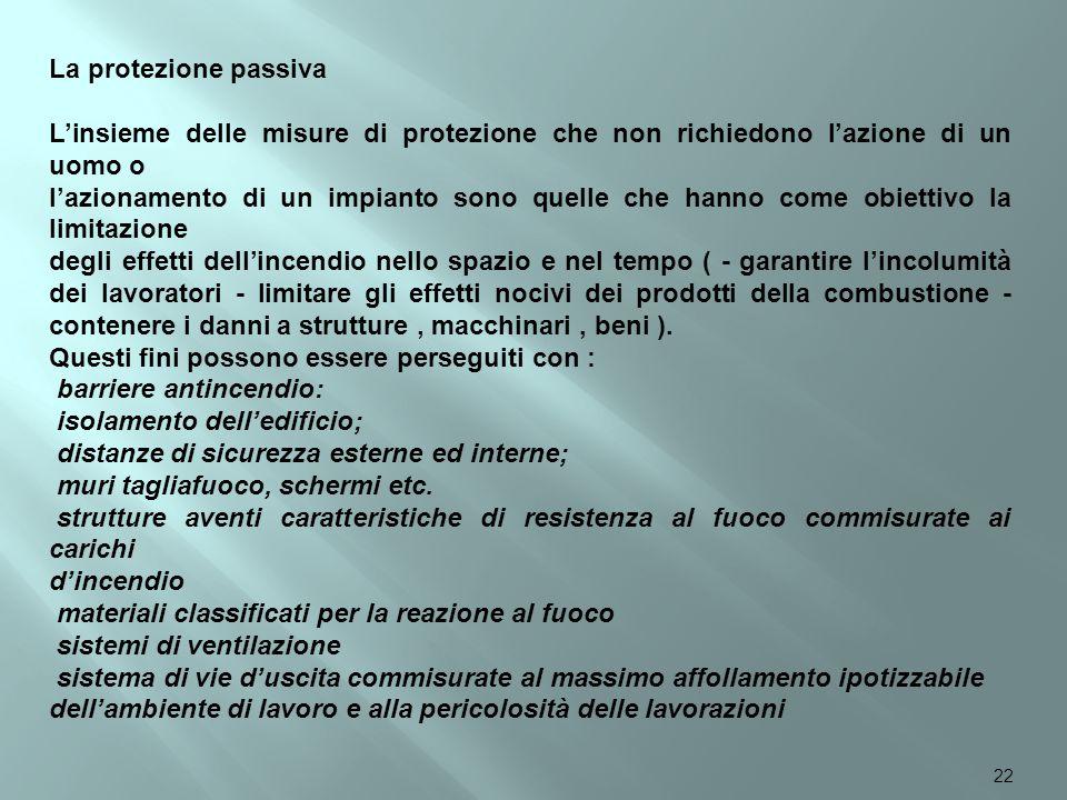 La protezione passiva L'insieme delle misure di protezione che non richiedono l'azione di un uomo o.