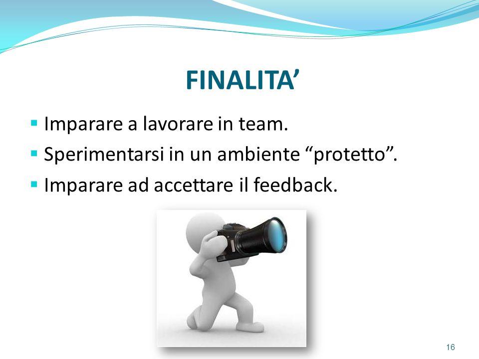 FINALITA' Imparare a lavorare in team.