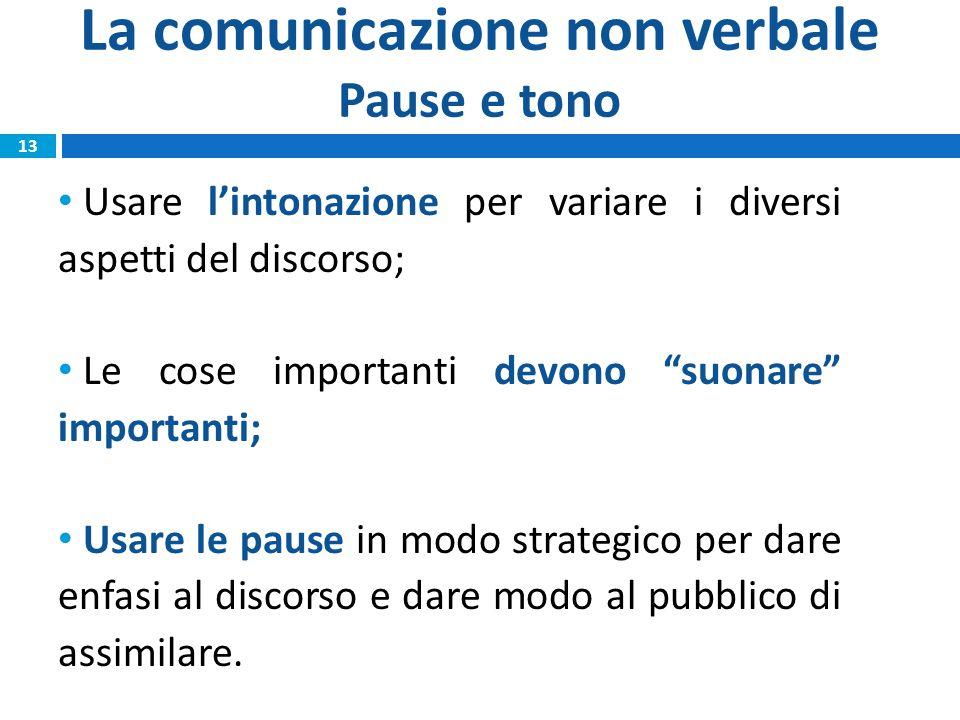 La comunicazione non verbale Pause e tono