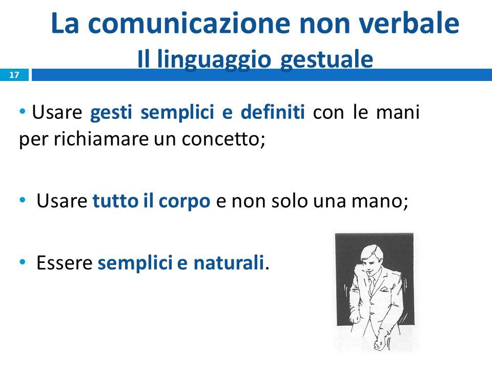 La comunicazione non verbale Il linguaggio gestuale