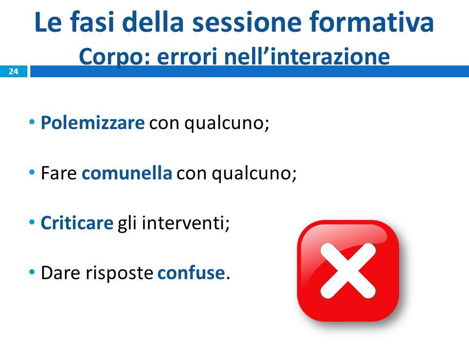 Le fasi della sessione formativa Corpo: errori nell'interazione